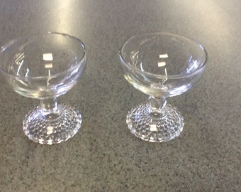Pair Bubble Footed Dessert Goblets
