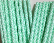 Paper Straws 25 Green & White Moroccan Tile Pattern - Aqua/Turquoise - Wedding, Birthday, Party, Mason Jars, Picnic