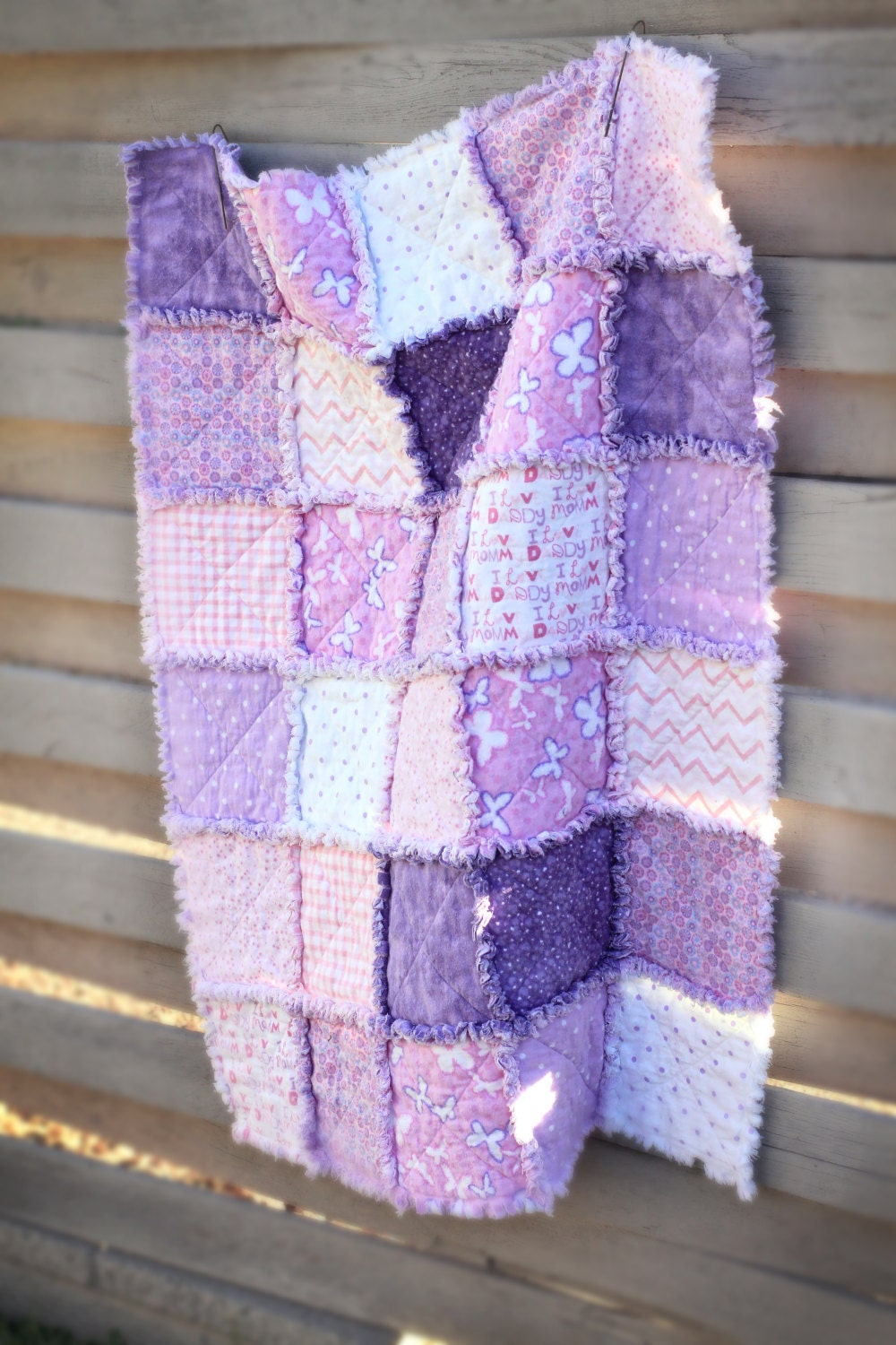 Super Soft Pink And Purple Rag Quilt Perfect For Baby Girl