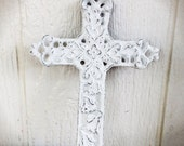 BOLD bright snowy white whimsical floral ornate victorian cross wall hanging // cast iron // rustic shabby cottage chic // religious