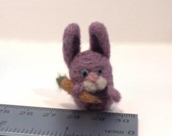 Miniature Purple Needle Felted Rabbit With Carrot - Felt Animal - Easter Bunny