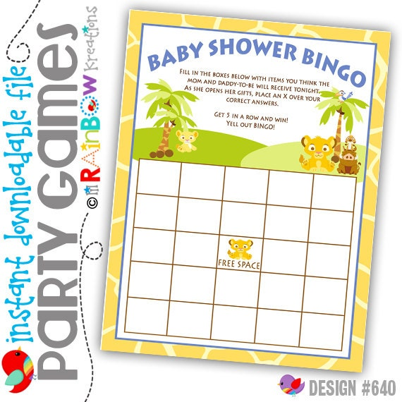 GAME-640: DIY - King Of The Jungle Bingo Party Game - Instant Downloadable File