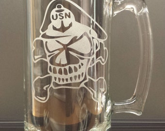 United States Navy Chief Beer Mug - Deep Etched, Hand Crafted