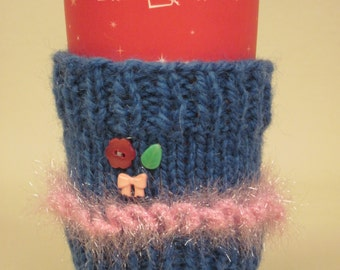 Coffee Cozy Knitted Blue