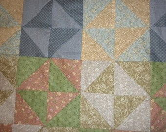 homemade quilt top,75X96, Triangle Squares multicolored