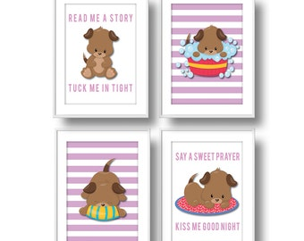 Puppies Nursery, Girl Read Me a Story Pastel Nursery Wall Art, Puppy Dog Nursery Decor