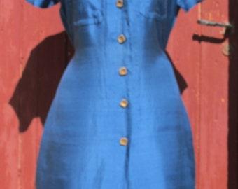Cobalt Blue Silk Shirt Dress Vintage 70s