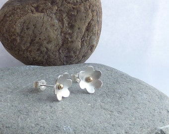 Sterling Silver Daisy Earrings with Gold Accents - sold but can be made to order