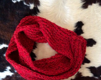 Long Chunky Hand Knit Scarf Red