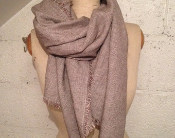 LIMITED EDITION - 100% Italian Linen Ditsy Brown Dogtooth 'Sophie' Scarf