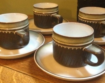 Set Of Four Vintage Denby Cup And Saucers (1960s -1970s)
