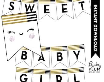 Black and Gold Baby Shower Banner / Gold Foil Banner / Baby Face Banner / Stripe Banner / Pink Banner / Printable / DIY / *Digital File*