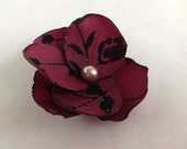 Red and Black Taffeta Velvet Christmas Flower Clip  with Pearl