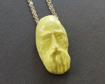 Ceramic Old Man Face Father Time Pendant Beard Wise Man Sculpture Thumb Print Pendant