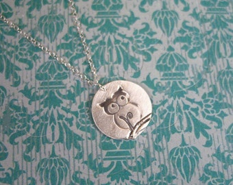 betty hoo - Owl Jewelry // Sterling Silver Owl Necklace // Tiny Owl Charm Necklace // Dainty Silver Necklace // Gift for Woman