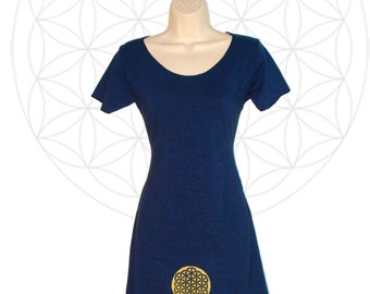 Organic dress -Organic cotton and Hemp dress with Flower of LIfe - Sacred geometry clothing - Handmade and dyed - sustainable fiber dress