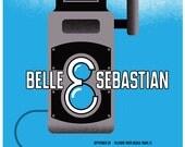 Poster - Belle & Sebastian Silkscreen Tour Poster - Hand Pulled Art Rock Poster Screen Print - Vintage Camera Gig Poster Print