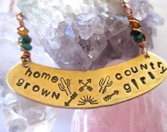 Handstamped Necklace, Lyrics Necklace, Turquoise Beads, Mixed Metal, Alabama Lyrics, Country Girl Necklace, Southwestern Designs,Layering