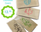 Monogrammed Checkbook Cover Natural Burlap Personalized Gift Boutique MADE IN USA