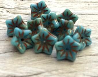 Czech glass flower beads-blue picasso pack of 10