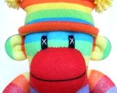 Rainbow Sock Monkey (made to order)