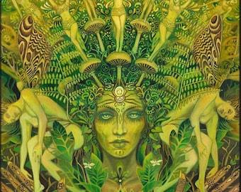 Dryad Forest Nymph Goddess Pagan Psychedelic Art  5x7 Greeting Card Pagan Mythology Psychedelic Bohemian Gypsy Goddess Art