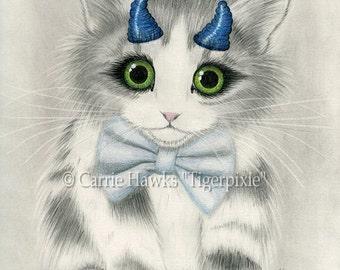 Cute Devil Kitten Kawaii Kitten Cat Drawing Little Blue Horns Big Eye Cat Art Gothic Fantasy Cat Art Print 5x7 Cat Lovers Art