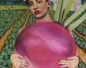Miss Milla, Biggest Turnip in the Clay County Fair 8.5 X 11 print by Caryn Cast
