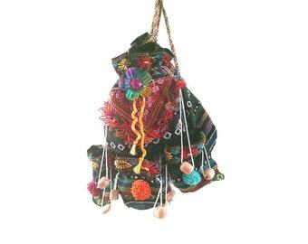 Pom Pom Bag, Backpack, Rucksack, Upcycled, Flower Brooch, Rainbow, Boho
