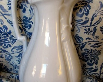 Large White Ironstone Ewer/pitcher James Edwards Dale Hall