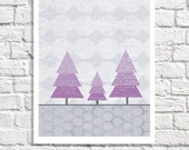 Whimsical Tree Picture For Nursery Purple And Grey Wall Art Baby Girl Room Decor Ideas Artwork For Children Woodland Theme Kids Illustration