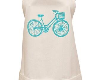 blue bike organic cotton full apron