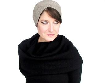 Beige wool jersey turban hat in sophisticated asymmetrical shape, womens sewn skullcap beanie, fitted mini beret : Upswing