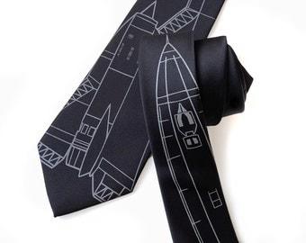 SR-71 necktie. Lockheed Blackbird strategic reconnaissance aircraft blueprint tie. Choose black on black & more!