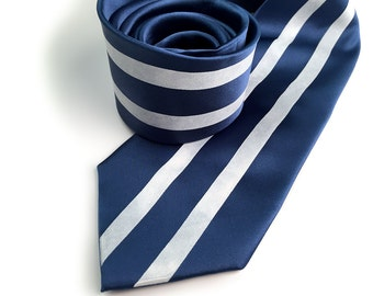 """Blue and white racing stripes necktie. """"Side Oiler"""" American livery tie. Sportscar enthusiast men's tie. Your choice of size."""