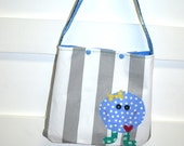 LIttle Girls Bag or Purse - Gray White Stripe with Blue Monster
