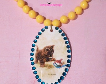 Upcycled Vintage Kitten Oval Pendant Necklace with Rhinestones