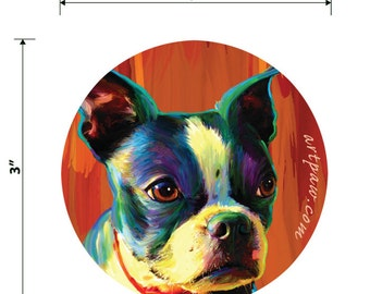 Boston Terrier Round Sticker 3 inch Vinyl