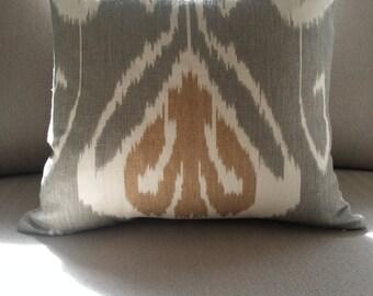 "20"" SQUARE Kravet Ikat Echo Bansuri Slate LinenThrow Pillow Cover in Grey Cream Tan Global Exotic Boudoir"