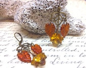Amber Leaves, Autumn Earrings, Vintage Style Leaf Earrings for Fall.