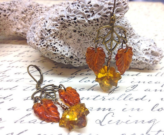 Amber Leaves Autumn Earrings Vintage Style Leaf By