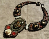 Bead Embroidered Collar Necklace with Vintage Hand Painted Russian Focal and Brass Antique Buttons