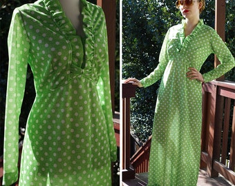 Key LIME Pie 1960's 70's Vintage Light Green Polyester Maxi Dress with Long Sleeves and Ruffles // by SEARS Fashions // size Medium