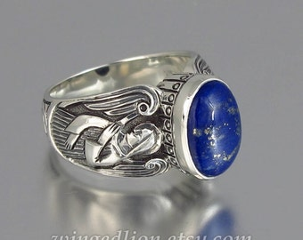 GUARDIAN ANGELS mens silver ring with Lapis Lazuli (sizes 8 to 14) unisex band