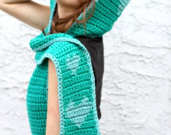I Heart You Sccofie - Simple Crocheted Hooded Scarf w/ 8-Bit Style Hearts - Two Tone Teal, Available In Custom Color Combos
