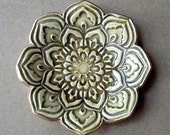 Olive Green Ceramic Lotus Ring Dish  3 1/4 inches round