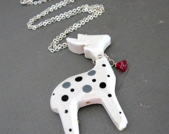 """Little Snow Deer Necklace // White Black Gray Dot Wood Deer Charm // Red Flower Glassbead // 20"""" Silver Chain // Christmas Gift"""