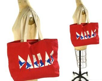 80s Dallas Canvas Tote Bag / Vintage 1980s Novelty Market Shopper / Vegan Red White & Blue School Book Gym Bag / Texas