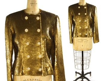 80s Victor Costa Gold Sequin Jacket / Vintage 1980s Saks Fifth Ave Military Band Jacket / Metallic Double Breasted Glam Rocker Blazer