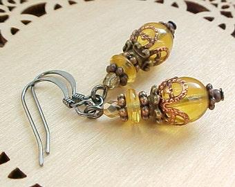 Renaissance Earrings Medieval Earrings Buttercup Yellow Earrings Gothic Victorian Earrings Czech Glass Earrings Tudor Earrings English Court